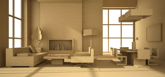 Fictitious interior of paperboard. 3D rendering Royalty Free Stock Images