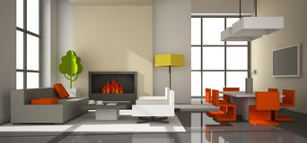 Fictitious interior of paperboard. Fictitious interior of color paperboard 3D rendering Stock Photos