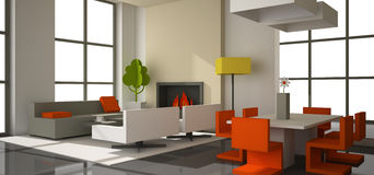 Fictitious interior of  paperboard. Fictitious interior of color paperboard 3D rendering Royalty Free Stock Photography