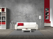 Fictitious living room with white sofa. Modern fictitious living room with white sofa and copy space for your own image/photos on the concrete wall behind the stock illustration