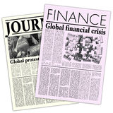 Fictitious Newspapers. Articles About Financial Crisis With Lorem Ipsum Copy Royalty Free Stock Image