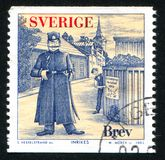 Fictitious police chief and criminal. SWEDEN - CIRCA 2002: stamp printed by Sweden, shows Fictitious police chief and criminal, circa 2002 Royalty Free Stock Image