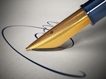 Fictitious sign and pen on paper. 3D illustration.  Royalty Free Stock Photography