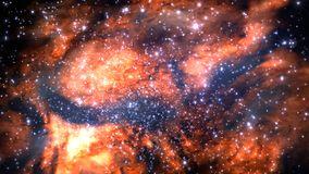 Fictitious star-field, nebulae, sun and galaxies. Illustration of a fictitious star-field, nebulae, sun and galaxies stock illustration