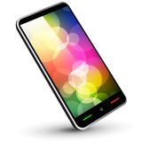Fictitious touch smartphone 3. (black, with wallpaper). Vector Illustration Royalty Free Stock Image