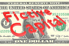 Fictive Capital concept. 3D illustration of Fictive Capital title on One Dollar bill as a background Stock Photography