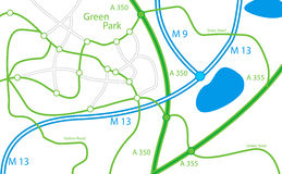 Fictive map. Of green park - ecologycal theme stock illustration