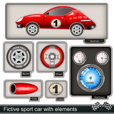 Fictive sport car with elements. Collection of a fictive sport car with different elements stock illustration