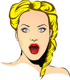Fictive surprised blonde woman Royalty Free Stock Image