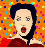Fictive surprised woman pop art style, with colorful polka dot background Stock Image