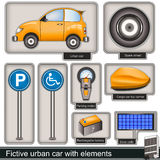 Fictive urban car with elements. Collection of a fictive urban car with different  elements Stock Photos