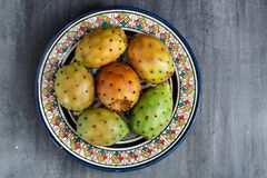 Ficus-indica vijgencactus, fig. van Barbarije, cactuspeer, ongewervelde cactus, stekelige peer, Indische fig.vijgencactus op een  Royalty-vrije Stock Afbeeldingen