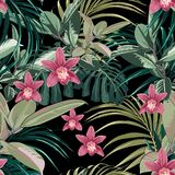 Ficus, palm leaves and pink orchid flowers seamless pattern, tropical foliage, branch, greenery. Decorative background in rustic style for wedding invite stock illustration