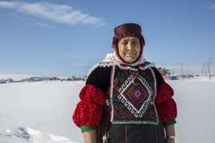 Fidan Atmaca in traditionele kleding in Damal, Ardahan, Turkije royalty-vrije stock foto