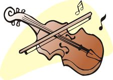 Fiddle. Brown violin and fiddlestick graphic illustartion Royalty Free Stock Photo