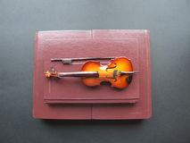 Fiddle the books. Model of fiddle on top of books on a black background. Concept fiddle the books stock photo