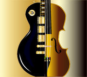 Fiddle Guitar Morph. A modern rock guitar worth a more traditional violin Royalty Free Stock Photography