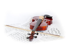 Fiddle. A fiddle and musical notebook Royalty Free Stock Photography