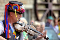 Fiddle player. Accompanying  Morris dancing at the Rushcart Ceremony in Saddleworth, UK on 20th of August, 2011 Stock Photography