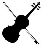Fiddle Silhouette. A typical violin and bow silhpuette  over a white background Royalty Free Stock Image