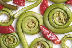 Fiddlehead Ferns and Red Pepper Pieces. Layed out on a white ceramic plate Royalty Free Stock Image