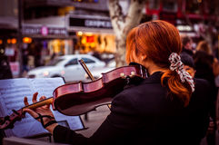 Fiddler Girl On The Street Royalty Free Stock Photo