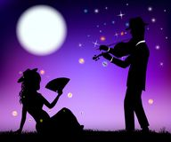 Fiddler and his girlfriend. Violinist playing the violin for a girl under the moon romantic vector illustration Royalty Free Stock Image