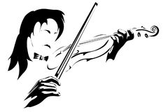 The Fiddler and violin.Vector. Vector illustration with scene playing fiddler on violin in monochrome performance Stock Photo