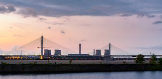 Fiddlers Ferry Station Runcorn UK. Widnes, Cheshire, Fiddlers Ferry coal powered power station from the Mersey River Royalty Free Stock Image