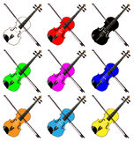 Fiddles. A group of mult coloured fiddles all over a white background Stock Images