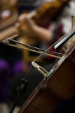The fiddlestick on the strings cello stock image