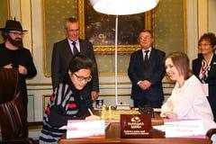 FIDE Women's World Chess Championship. LVIV, UKRAINE - MARCH 11, 2016: Begining of 7th game of FIDE Women's World Chess Championship Match between Mariya Royalty Free Stock Photos