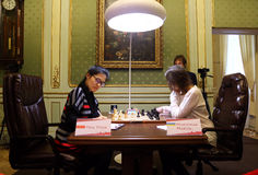 FIDE Women's World Chess Championship Match Mariya Muzychuk vs Hou Yifan Royalty Free Stock Image