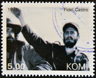 Fidel Castro. A stamp printed in  Komi shows Fidel Castro Stock Image