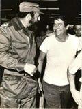 Fidel Castro i textilfabrik royaltyfria foton