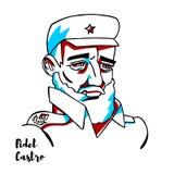 Fidel Castro Portrait stock de ilustración