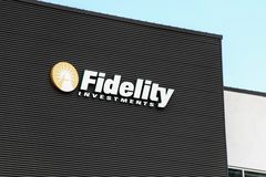 Fidelity Investments Logo on the side of a building royalty free stock images