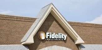 Fidelity Investments Sign on a Building Royalty Free Stock Image