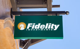 Fidelity Investments Sign. MONTEREY, CA/USA - JULY 23, 2014: Fidelity Investments sign. Fidelity Investments is an American multinational financial services royalty free stock photo