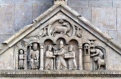 Fidenza (Parma) - cattedrale, bas-relief Fotografia Stock Libera da Diritti