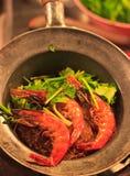Fideos cocidos del camarón Fotografía de archivo