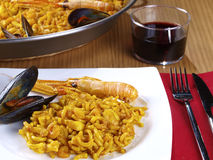 Fideua – Noodle paella Royalty Free Stock Photography