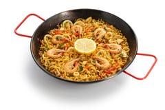 Fideua de marisco, paella da massa do marisco, culinária espanhola Imagem de Stock Royalty Free