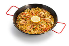 Fideua de marisco, seafood pasta paella, spanish cuisine Royalty Free Stock Image