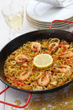 Fideua de marisco, seafood pasta paella, spanish cuisine Stock Photos