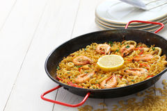Fideua de marisco, seafood pasta paella, spanish cuisine Stock Image