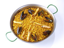 Fideua - Noodle paella -  on white Stock Images
