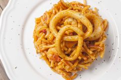 Fideua with squid Stock Photography