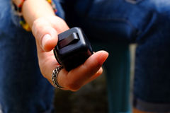 Fidget Cube. Stress reliever, fingers toy, black. & x28;relax& x29 Royalty Free Stock Image