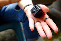 Fidget Cube. Stress reliever, fingers toy, black. & x28;relax& x29 Stock Images